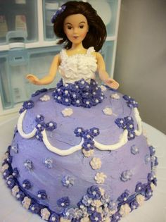 Princess Dress Cake - Sponge cake with a strawberry puree filling and whipped buttercream frosting