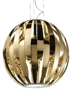 A fabulous modern acrylic (Lucite) ceiling pendant with a white, gold or silver metallic finish from Studio Italia Design. It's big, measuring 42 cm in diameter. You can find out more at http://www.italian-lighting-centre.co.uk/acrylics-plastics/futuristic-perspex-ceiling-globe-silver-gold-white-p-6580.html#.VTz8lvnF9j8
