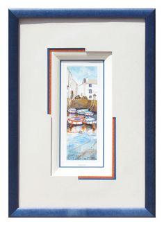 Port réalisé par Monique en 2012Biseau français blanc sur un filet bleu. Superposition de 2 cartonnettes décalées orange et bleu. Le PP blanc vient recouvrir ces cartonnettes dans 2 angles.