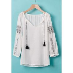 Cheap Wholesale Casual V-Neck Delicate Embroidery Drawstring Loose-Fitting White Holiday Women's Shirt (WHITE,L) At Price 14.68 - DressLily.com