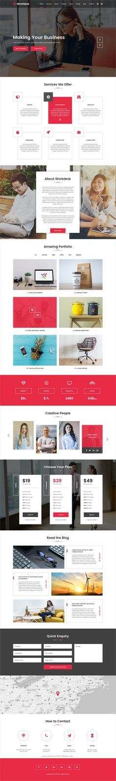 WorkDesk is clean and modern design #PSD template for digital #agency and #corporate offices website download now..