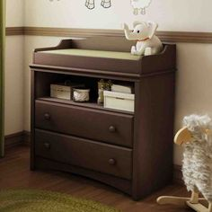 South Shore Angel Changing Table in Chocolate - 3559331 - Changing Tables - Nursery Furniture - Baby & Kids' Furniture - Furniture Changing Table With Drawers, Changing Table Dresser, Baby Changing Table, Kids Bookcase, Nursery Furniture, Furniture Storage, Wood Furniture, Furniture Ideas, Wooden Handles