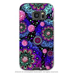 Wild Paisley Galaxy S7 Case - Frilly Floratopia - Pink and Blue Paisley Samsung Galaxy S7 Tough Case