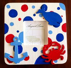 Nautical  Picture Frame with Red Blue and by AugustLaneMarket, $18.00
