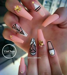 Are you looking for peach acrylic nails design? See our collection full of peach acrylic nails designs and get inspired! Peach Acrylic Nails, Cute Acrylic Nails, Acrylic Nail Designs, Cute Nails, Pretty Nails, Nail Art Designs, Nails Design, Coral Nail Designs, Peach Nails