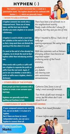 What is a hyphen? Learn how and when to use a hyphen (-) with useful punctuation rules and example sentences. The hyphen is the shortest of the three horizontal marks that may be used in the middle of a sentence. English Vocabulary Words, Learn English Words, English Grammar, Teaching English, English Language, Teaching Spanish, Language Arts, Grammar Tips, Grammar And Punctuation