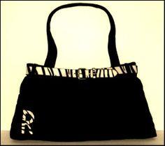 Black Denim Jeans Handbag Monogram Zebra Black & White