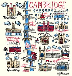 Julia Gash's unique interpretation of the ancient university of Cambridge is conveyed as a literal translation of the city's name. The focus of this delightful design is the many bridges over the River Cam, under which we see the famous. York Uk, Washington Square, Fanarts Anime, Little Fish, Over The River, New York Art, Les Sentiments, Travel Scrapbook, Travel Posters