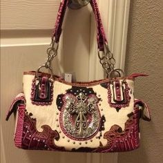 I just discovered this while shopping on Poshmark: Cow print purse w/fuchsia trim. Check it out!  Size: Medium