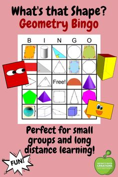 Looking for a fun way to review fractions with your students? This hands-on game of What's That Shape? Bingo is sure to be a hit! It is a great game for mastering the properties geometric 2D shapes and 3D solids.This Bingo Game Packet contains 35 randomized bingo cards and 26 bingo calling cards with geometric shape descriptions. Fun Math Activities, Math Resources, Math Games, Have Fun Teaching, Teaching Math, Bingo Calls, Geometry Worksheets, Preschool At Home, Hands On Learning