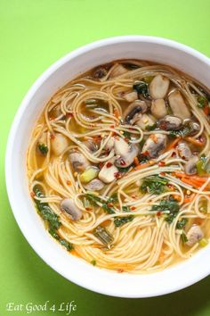 Thai noodle soup. Easier than you think and much healthier. You can even make it vegan by omitting the fish sauce and gluten free by using gluten free noodles of your choice. Done in just 25 minutes!