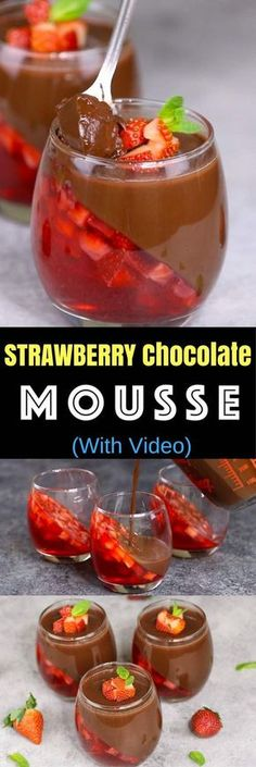 Strawberry Chocolate Mousse is a delicious make ahead dessert with two layers that you can easily prepare. All you need is a few simple ingredients: fresh strawberries, strawberry jello powder, water,. Make Ahead Desserts, Köstliche Desserts, Dessert Recipes, Holiday Desserts, Strawberry Jello, Easy Party Food, Party Snacks, Party Drinks, Chocolate Strawberries