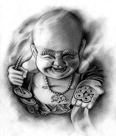 Projeto do tatuagem | Happy Buddha por badfish1111