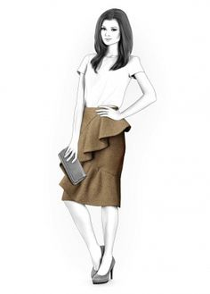Skirt With Flounce - Sewing Pattern #4214