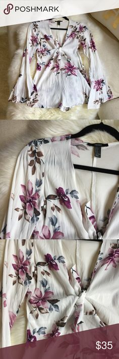 Floral romper Tie floral romper | FTTS | worn once  ➳ no offsite sales ➵ good vibes only ࿊ use that offer button Forever 21 Dresses