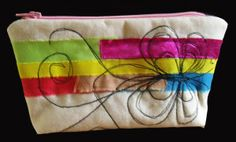 Zipped calico pouch - strips of procion dyed fabrics with machine embroidery - butterfly