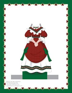 Paper Doll School: December Paper Doll -- Mrs Claus Paper Doll, Outfit 14