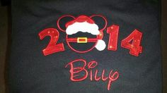 2014 mouse with Santa hat and belt with name added on black tshirt.