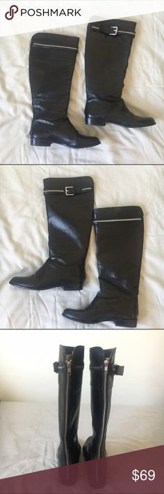 Michael Kors Black Leather Back Zipper Boots These gorgeous black leather Michael Kors boots feature zippers at the back from top to bottom and buckles at the top outer of each boot. They are in very good condition, only worn about three times. One scuff on one of the boots is pictured in the last photo. Size 10. Michael Kors Shoes Combat & Moto Boots