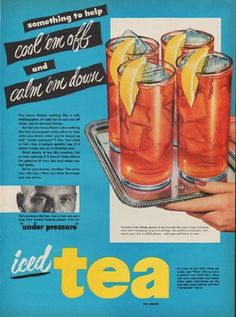 """Description: 1951 ICED TEA COUNCIL vintage print advertisement """"something to help"""" -- something to help cool 'em off and calm 'em down -- Size: The dimensions of the full-page advertisement are approximately 10.5 inches x 14 inches (27 cm x 36 cm). Condition: This original vintage full-page advertisement is in Very Good Condition unless otherwise noted."""