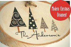 Contemporary Personalized Family Christmas Ornament by LittleWeeShop on ETSY Personalized Family Ornaments, Modern Christmas Ornaments, Mid-century Modern, Contemporary, Gifts, Explore, Etsy, Presents, Favors