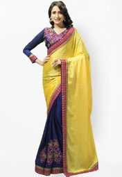 Admyrin Navy Blue Embroidered Saree Online Shopping Store