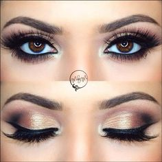 The unique selling point of this bridal eye makeup is the copper eye shadow. Ideal for traditional bridal profile and also, if articulate enough, even for a bridal cocktail wear with minimal jewellery. Because it is a heavy eye makeup, and looks fantastic with a thick line of beautiful lashes, you can opt out of winged tips for the eye-liner.  #makeup #eyemakeup #makeuptips #bridalmakeup