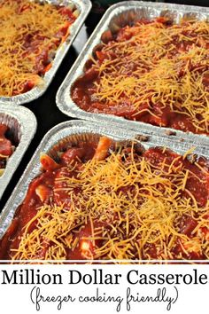 Million Dollar Casserole - If you're freezer cooking, you can top it with foil and add it to the freezer. Once thawed in the future, you can bake it for the same time. Personally, I think when you freezer cook with pasta, it sometimes soaks up the sauce. I like to add some sauce to the casserole before cooking it.