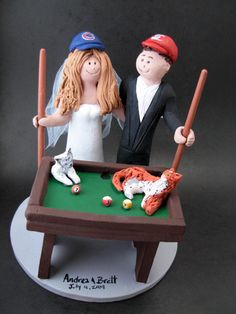 Billiard Or Pool Players Wedding Cake Topper Custom Made To Order Bride And Groom With Cue Sticks Caketopper