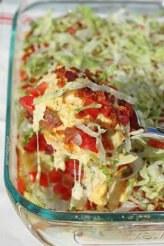 BLT Dip 12 slices center cut bacon 2 (8 oz) blocks of 1/3 less fat cream cheese 2/3 cup fat free sour cream 4 oz 50% reduced fat sharp cheddar cheese, shredded (about 1 cup) – I used Cabot 5 oz (1 ¼ cups) shredded 2% Mozzarella cheese 1 tablespoon yellow mustard ½ teaspoon Italian seasoning ½ teaspoon garlic powder Salt & pepper to taste 1 cup diced, seeded tomatoes (I used grape tomatoes) 1 ½ cups shredded iceberg lettuce
