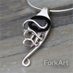 Fork pendant with Black Onyx Cabochon by ForkArtJewelry on Etsy