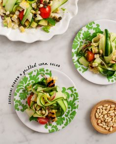 zucchini and grilled corn salad / @loveandlemons (plates from @qsquarednyc)