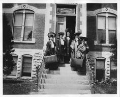 All Hallows Academy Creator: Unknown photographer Date Original: 1890 Physical Details: 8 x 10 inches Description: Five women on the steps of All Hallows Academy for girls, 3000 West Douglas Avenue. Keywords: Wichita, education, people, west side, Catholic schools, women. Subject: Wichita (Kan.) -- Pictorial works