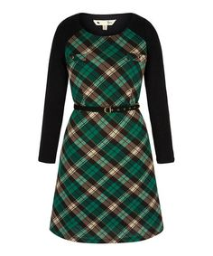 Love this Green Plaid Tunic Dress & Belt on #zulily! #zulilyfinds