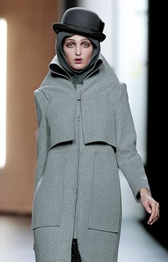 Layered collar detail going into the front panel grey coat is beautiful - Jil Sander,  believe?