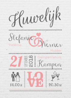 Trouwkaart tekst, typografie Stefanie & Werner | #typografie roze #uitnodiging #huwelijk