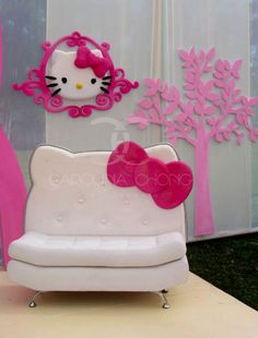 Hello Kitty Party Chair and like OMG! get some yourself some pawtastic adorable cat shirts, cat socks, and other cat apparel by tapping the pin! Hello Kitty Bedroom, Hello Kitty House, Hello Kitty Birthday, Here Kitty Kitty, Wonderful Day, Party Chairs, Kawaii Room, Hello Kitty Collection, Sanrio Hello Kitty
