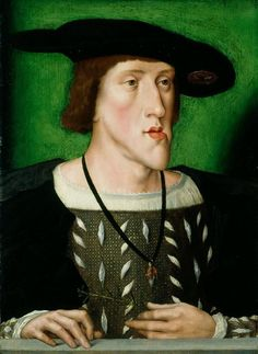 Emperor Charles V (1500-58)    Flemish School (c. 1515)  c. 1514-16  Oil on panel  43.8 x 32.2 cm - Charles was born with the so-called 'Hapsburg chin' which is a deformity known as Prognathism.