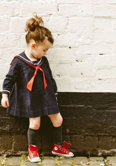 rowdy roddy vintage, babyccino Kids boutiques - This is how I can have leftie rock the sailor dress! Fashion Kids, Little Fashion, Toddler Fashion, Vintage Kids Fashion, Vintage Kids Clothes, Fashion Art, Cute Outfits For Kids, Cute Kids, Couture Bb