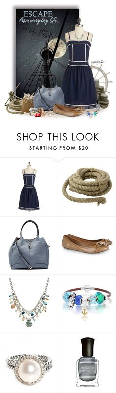 """Nautical Escape"" by exxpress ❤ liked on Polyvore featuring HomArt, Tory Burch, Croft & Barrow, Bling Jewelry, David Yurman, Deborah Lippmann, navy, Nautical and onepicture"