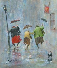 'Happiness - A Study' Giclee Print / Des Brophy Watercolor Paintings, Original Paintings, Painting Canvas, Watercolour, Umbrella Art, Art Plastique, Painting Inspiration, Illustration, Art Drawings