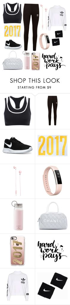 """Work hard play hard"" by dakota4-1 ❤ liked on Polyvore featuring adidas Originals, NIKE, Urbanears, Fitbit, Kate Spade, Chanel, Casetify and adidas"