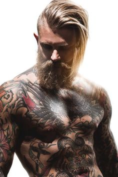 Josh Mario John- Beard, Tattoos, Undercut, Blonde, blue eyes, Muscles ... Holy fuck.. Testosterone overdose!!!