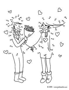 jeux des points relier saint valentin couple bouquet points relier difficile