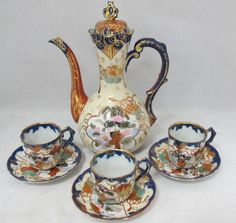 Japanese Imari Teapot With 3 Cups and Saucers