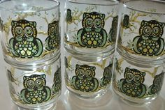 Vintage Owl Glasses Set of 6 Juice by vintagefrombutterfly on Etsy, $24.00