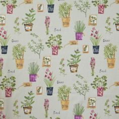 Herb Pots Linen 100% cotton 140cm | 64cm Curtaining