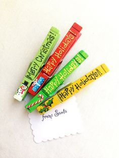 CHRISTMAS CLOTHESPINS hand painted magnetic pegs Merry Christmas Happy Holidays…