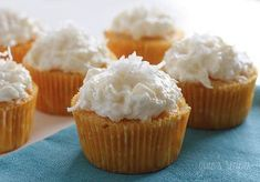 Pina Colada Cake Mix Cupcakes | Gotta love this tropical dessert! Pineapple and coconut flavors make for a super sweet cupcake recipe.