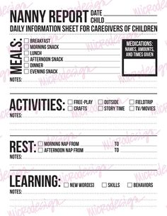 Nanny Report Daily Information Sheet For Caregivers Of Young Babysitting Agency Games